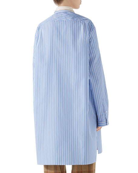 Embroidered-Collar Button-Front Striped Curtain Shirt