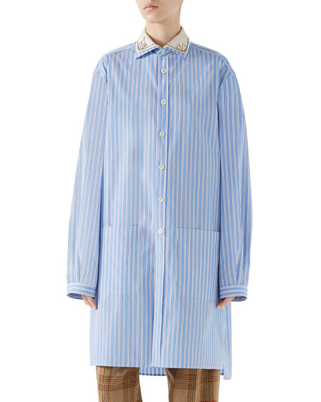 Embroidered-Collar Button-Front Striped Curtain Shirt in Blue