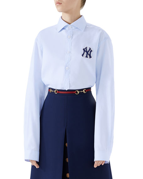 Ny Yankees Mlb Button-Front Long-Sleeve Cotton Shirt in Blue
