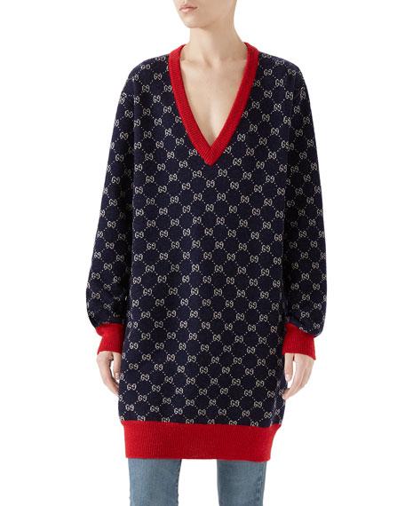 V-Neck Long-Sleeve Gg-Jacquard Wool-Alpaca Sweater Top in Blue