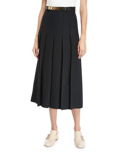 Cady Crepe Wool-Silk Pleated Skirt w/ Leather Belt