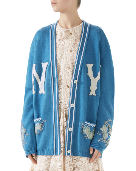 GUCCI Ny Yankees Mlb V-Neck Wool Cardigan With Flower Appliques in Blue