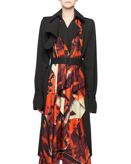 Butterfly-Print Silk Cotton Trench Coat in Black