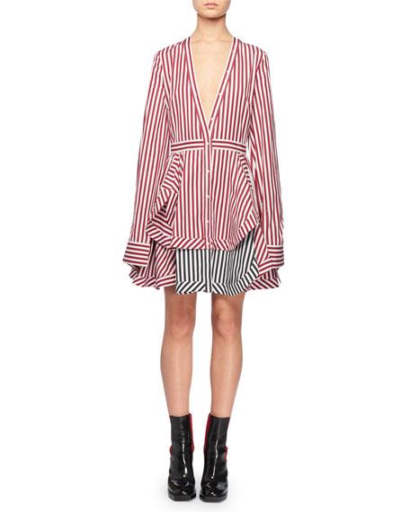 V-Neck Button-Front Long-Sleeve Striped Cotton Mini Dress w/ Contrast Hem