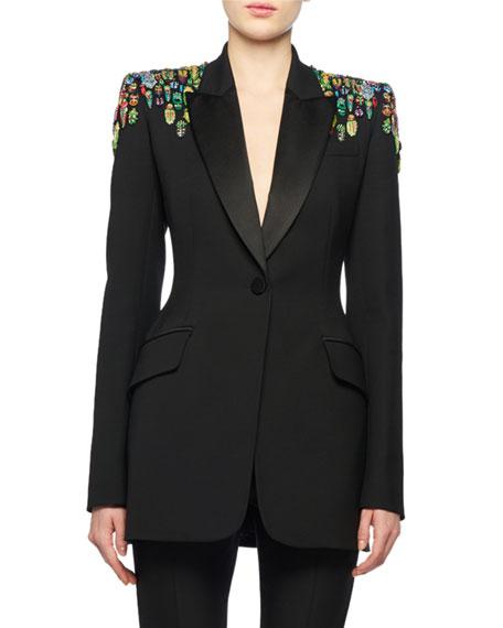 One-Button Embellished-Shoulder Lightweight Wool-Silk Tux Blazer