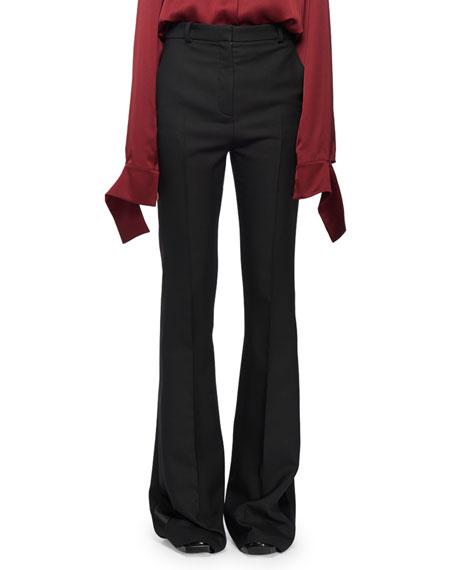 Alexander McQueen High-Waist Narrow Boot-Cut Wool-Blend Tux