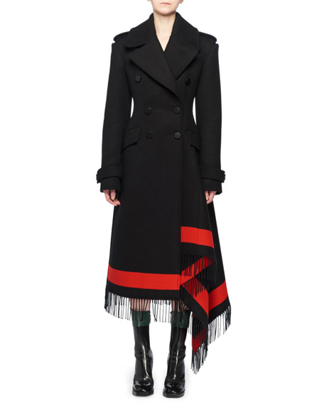 Alexander McQueen Double-Breasted Wool-Cashmere Coat w/ Striped