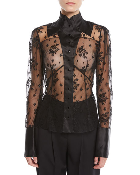 OLIVIER THEYSKENS LONG-SLEEVE BUTTON-FRONT LACE BLOUSE W/ SATIN TRIM