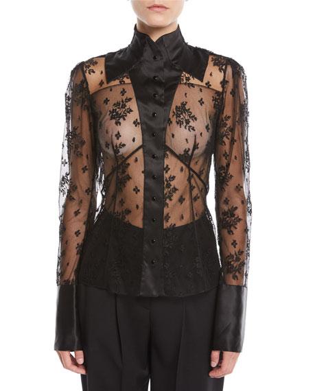 Long-Sleeve Button-Front Lace Blouse w/ Satin Trim