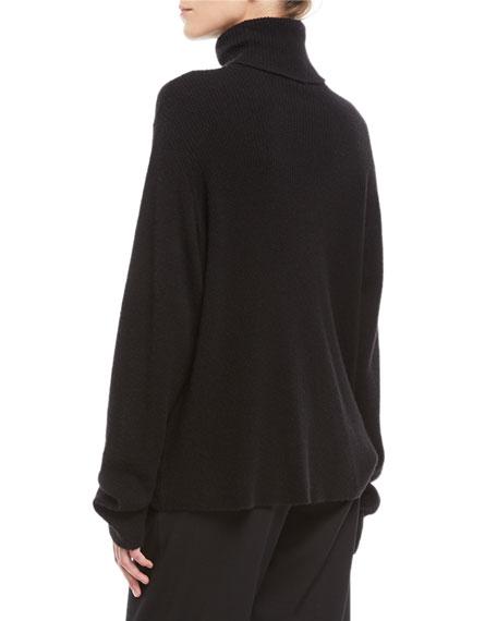 Turtleneck Long-Sleeve Cashmere-Silk Knit Sweater