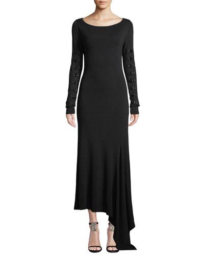 Boat-Neck Long-Sleeve Long Knit Dress w/ Hook & Eye Details