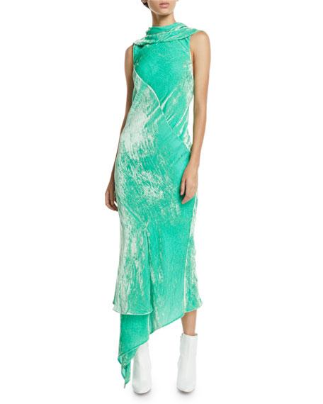 OLIVIER THEYSKENS Asymmetric Sleeveless Bias-Cut Velvet Dress in Green