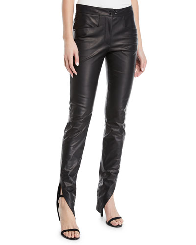 Ankle-Slit Skinny-Leg Calfskin Leather Pants