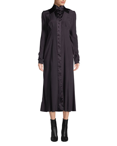 Shaped-Neck Long-Sleeve Button-Front Silk Midi Dress