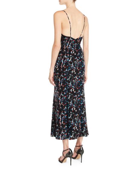 V-Neck Sleeveless Abstract-Print Flared Midi Dress