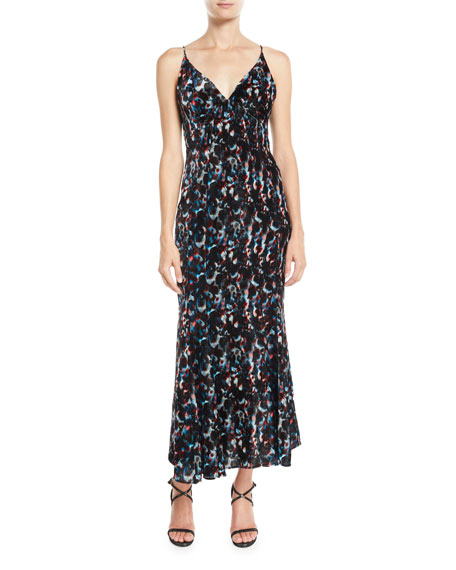 Olivier Theyskens V-Neck Sleeveless Abstract-Print Flared Midi