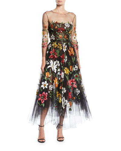 Long-Sleeve Fit-and-Flare Floral Harvest Embroidered Tulle Evening Gown