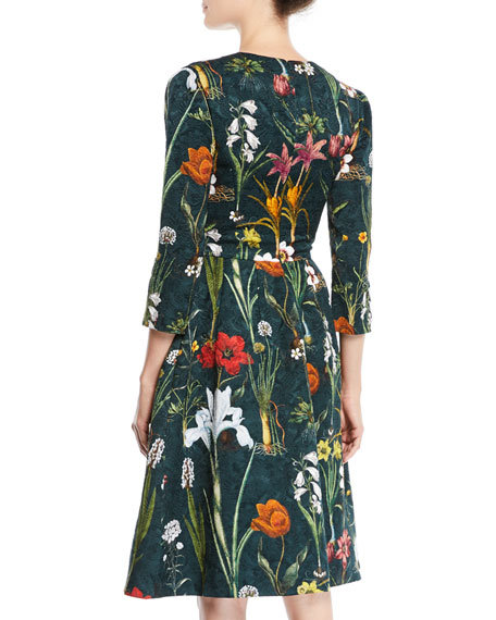 Split-Neck 3/4-Sleeve Fit-and-Flare Floral-Embroidered Knee-Length Day Dress