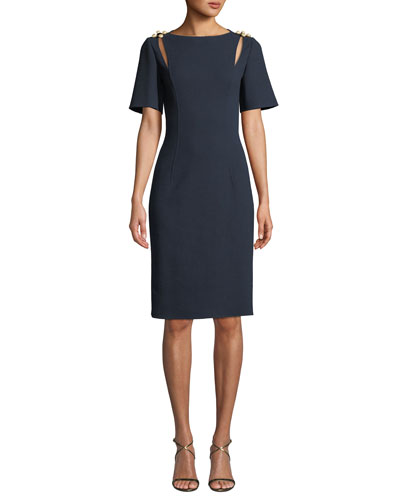 Short-Sleeve Bateau-Neck Crepe Wool Pencil Cocktail Dress w/ Brooch Detail