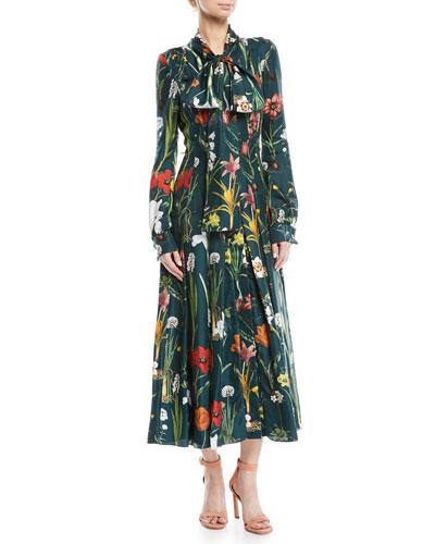 Tie-Neck Button-Front Long-Sleeve Garden-Print Long Silk Dress