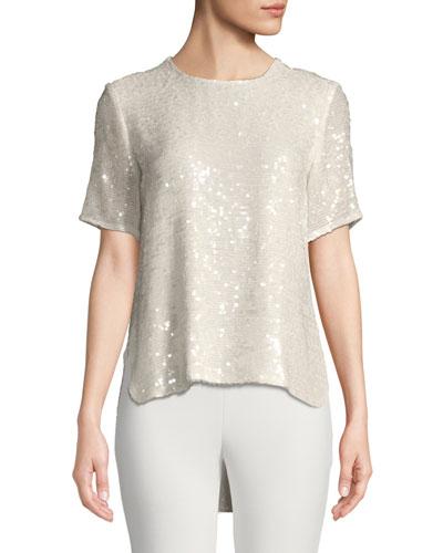 Crewneck Short-Sleeve Sequin T-Shirt w/ Cross-Back