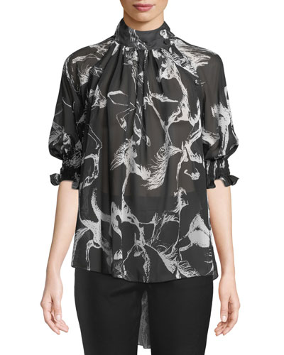 Mock-Neck Pouf-Sleeve Abstract-Print High-Low Chiffon Blouse