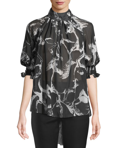 b4ae26a6b42feb Adam Lippes Mock-Neck Pouf-Sleeve Abstract-Print High-Low Chiffon Blouse