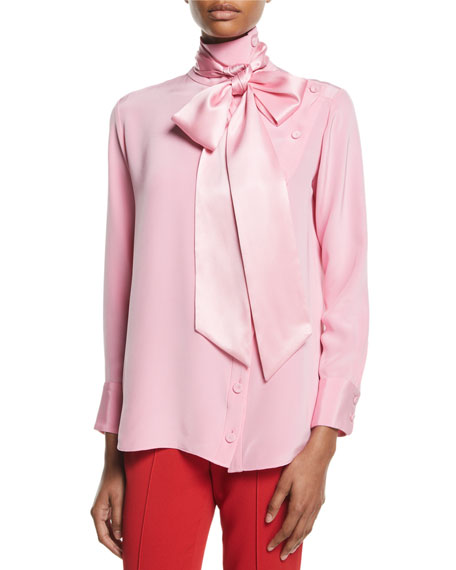Mock-Neck Long-Sleeve Button-Front Silk Blouse W/ Detachable Scarf in Pink