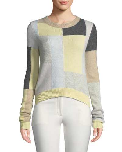 Patchwork Crewneck Cashmere Sweater