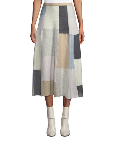 Patchwork Cashmere Midi Circle Skirt