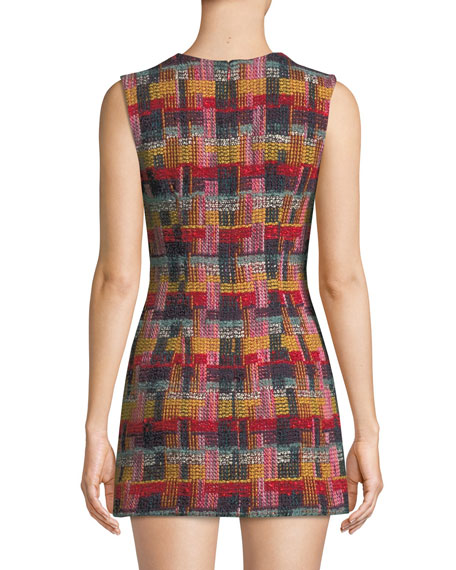 Sleeveless Plaid Tweed Fitted Mini Dress