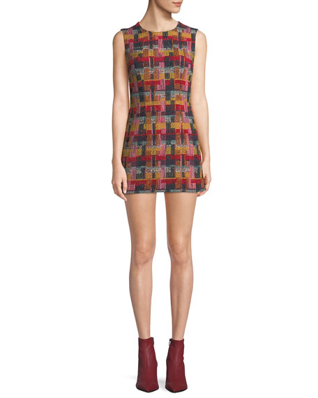 ADAM LIPPES Sleeveless Plaid Tweed Fitted Mini Dress in Red