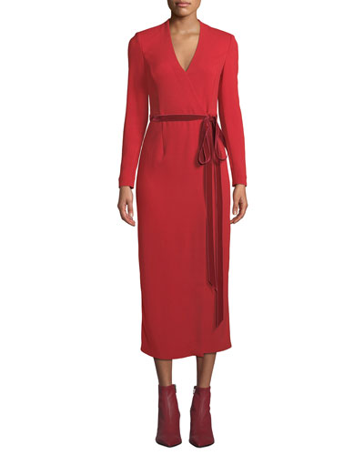 Long-Sleeve Midi Wrap Dress w/ Velvet Belt