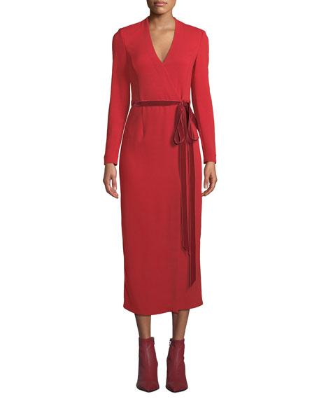 Adam Lippes Long-Sleeve Midi Wrap Dress w/ Velvet
