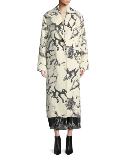 Notched-Lapel Button-Front Abstract Horse-Print Cocoon Wool Coat