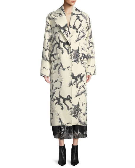 Notched-Lapel Button-Front Abstract Horse-Print Cocoon Wool Coat in White