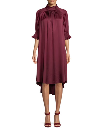 Mock-Neck Half-Sleeve Silk Satin Shift Dress