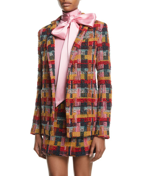 Plaid Tweed Blazer w/ Pockets