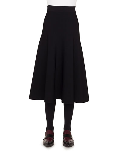 High-Waist Flared Knit Midi Skirt