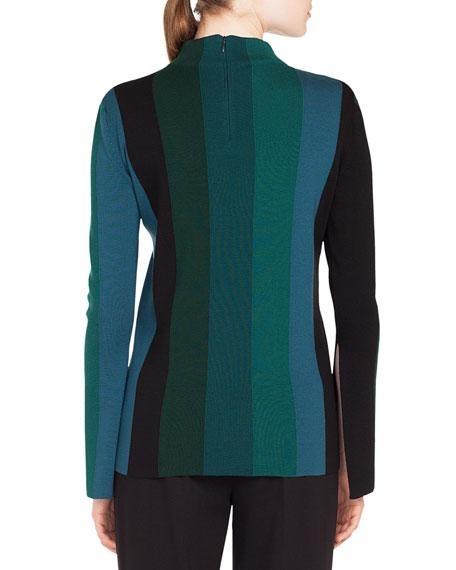 Turtleneck Slit Long-Sleeve Striped Wool Knit Top