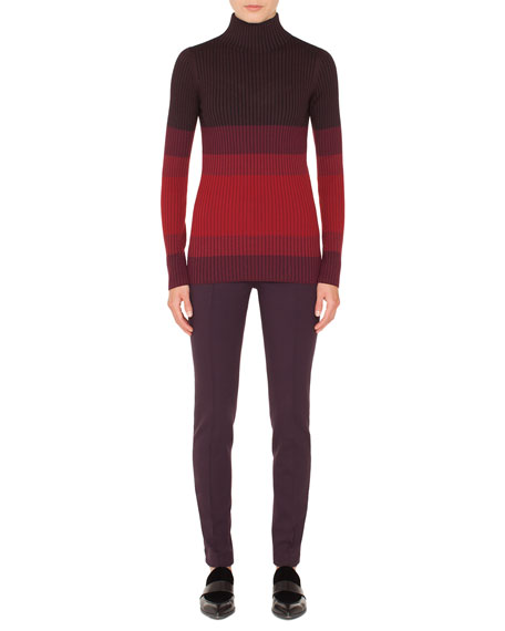 Turtleneck Long-Sleeve Tricolor Ribbed Wool Sweater