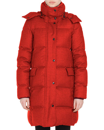 Stand-Collar Water-Repellent Quilted Puffer Coat w/ Detachable Hood