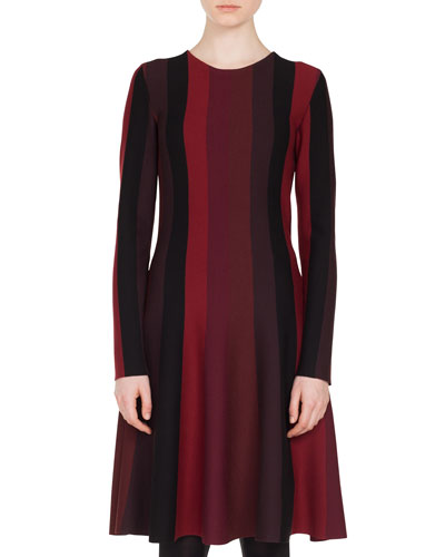 Long-Sleeve Crewneck A-Line Striped Knit Wool Dress