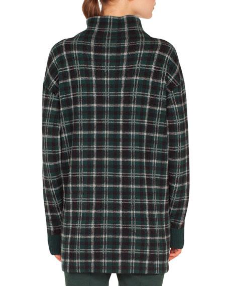 1bfbf4420b Akris punto Turtleneck Long-Sleeve Check Cashmere-Blend Sweater