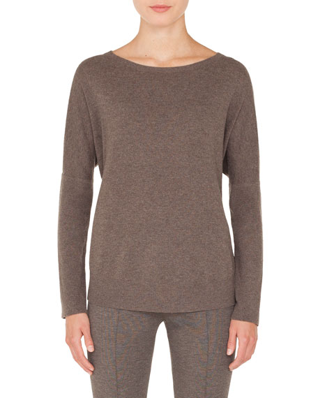 Round-Neck Long-Sleeve Oversized Cashmere-Blend Sweater