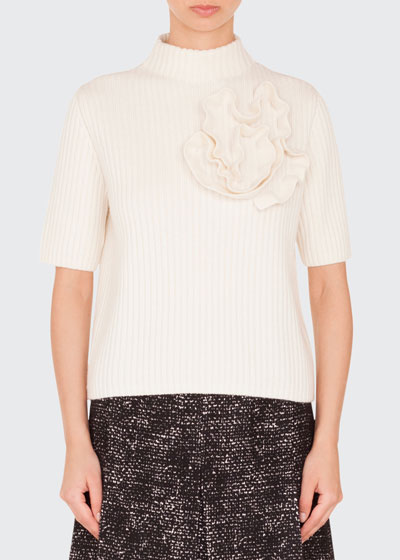 Mock-Neck Elbow-Sleeve Ribbed Cashmere-Blend Pullover Sweater w/Flower Detail