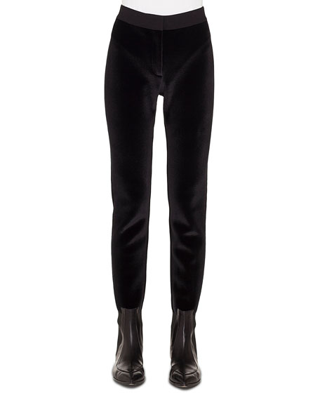 Velvet-Front Jersey-Back Tapered Leg Pants