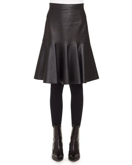 Akris punto Ruffled Hem Back-Zip Knee-Length Leather Skirt
