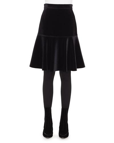 Bell-Shaped Scuba Velvet Knee-Length Skirt