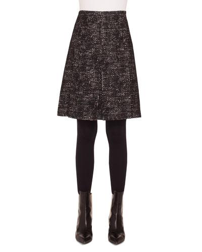 A-Line Bicolor Tweed Knee-Length Skirt